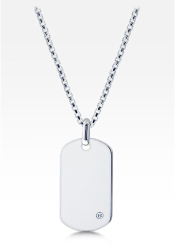 Mens Sterling Silver Dog Tag Necklace w/ 0.05 ctw Diamond Accent and Box Link Chain (Engravable)
