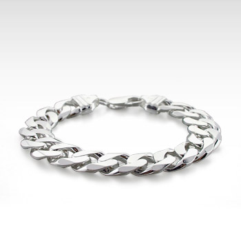 Men's Sterling Silver 300 Gauge Curb Link Bracelet