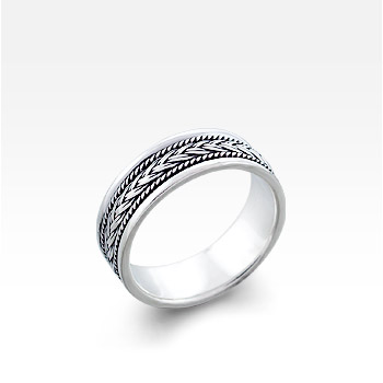 Men's Sterling Silver Bali Plat Ring (Engravable)
