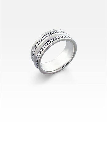 Men's Sterling Silver Dual Weave Ridge Ring