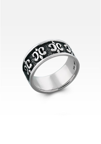 Men's Sterling Silver Gothic Fleur de Lis Ring (Engravable)