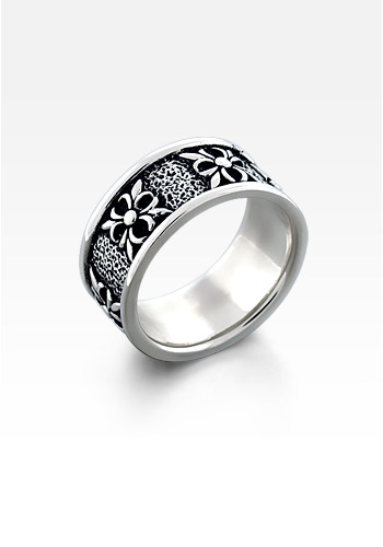 Men's Sterling Silver Gothic Nordic Crest Ring (Engravable)