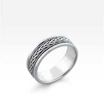 Men's Sterling Silver Milgrain Bordered Celtic Braid Ring (Engravable)