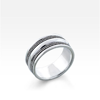 Men's Sterling Silver Milgrain Ridge Ring (Engravable)