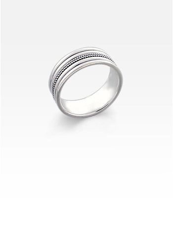 Men's Sterling Silver Milgrain Strip Ring (Engravable)