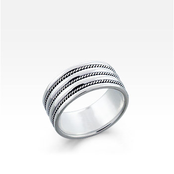 Men's Sterling Silver Multi-Milgrain Band Ring (Engravable)