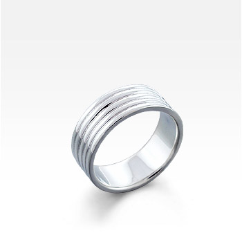 Men's Sterling Silver Multi-Rib Comfort-Fit Ring (Engravable)
