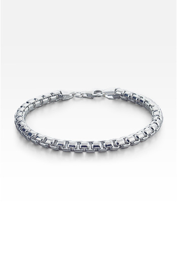Men's Sterling Silver Rounded Box-Link Chain Bracelet