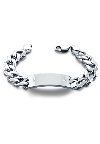 400 Gauge Sterling Silver Curb Link Men's Diamond ID Bracelet (Engravable)