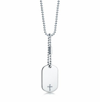 Mens Diamond Cross Sterling Silver Dog Tag Necklace w/t Extension Chain