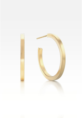 Small 14k Gold 'Everyday Wear' Square Face Hoop Earrings