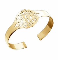 Small 14k Gold Vermeil Cut Out 3-Initial Monogram Cuff Bracelet