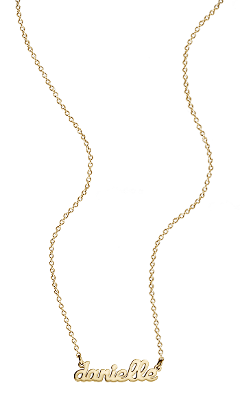 Solid 14k Gold Petite Cursive Nameplate Necklace