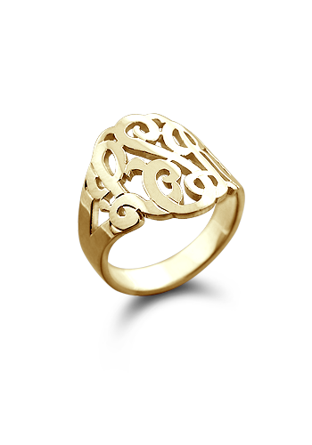 Solid 14k Gold Cut Out Initial Monogram Ring