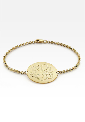 Solid 14k Gold Monogram Round Tag Bracelet (Engravable)