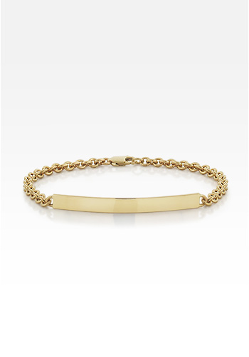 Solid 14k Gold Womens ID Tag Bracelet (Engravable)