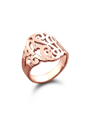 Solid 14k Rose Gold Three Initial Lace Monogram Ring