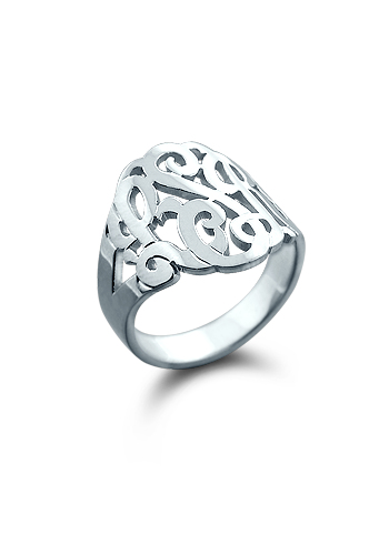 Solid 14k White Gold Three Initial Cut Out Monogram Ring