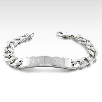 300 Gauge Sterling Silver Cuban Link Men's ID Bracelet (Engravable)