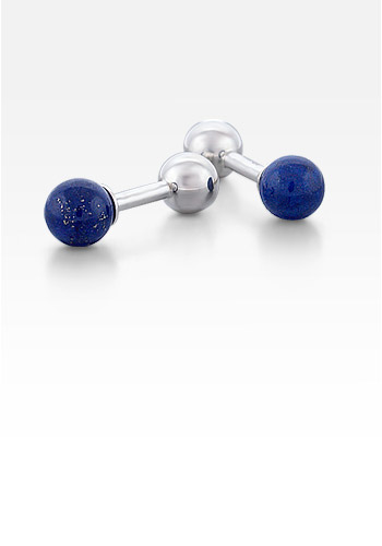 Sterling Silver and Lapis Lazuli Barbell Cufflinks