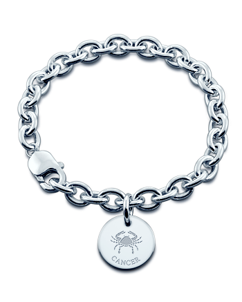 Sterling Silver Cancer Zodiac Charm Bracelet (Engravable)