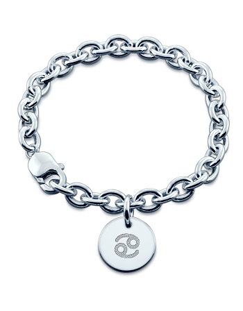 Sterling Silver Cancer Zodiac Symbol Disc Charm Bracelet (Engravable)