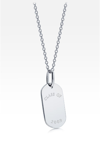 Sterling Silver 'Class of 2011' Graduation Women's Dog Tag Necklace (Engravable)