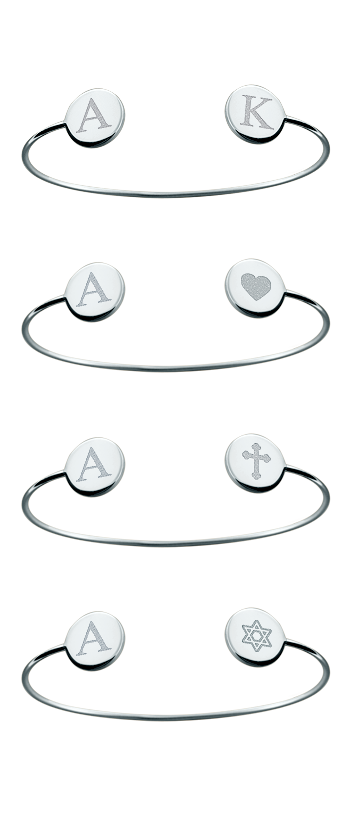 Sterling Silver Custom Engraved Double Initial Disc Bangle Bracelet