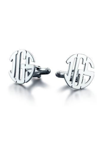 Sterling Silver Cut Out Initial Block Monogram Cufflinks