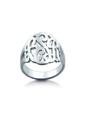 Sterling Silver Cut Out Three Initial Monogram Ring