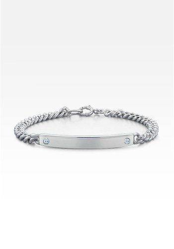 Sterling Silver Diamond Accent Women's ID Bracelet (Engravable)