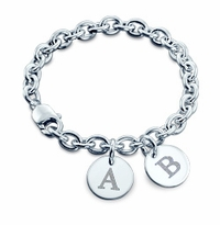 Sterling Silver Double Initial Disc Charm Bracelet