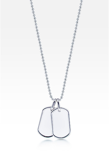 Sterling Silver Double Ridge Edge Dog Tag Necklace for Women (Engravable)
