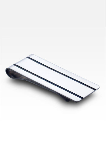 Sterling Silver Dual Oxidized Ridge Money Clip (Engravable)