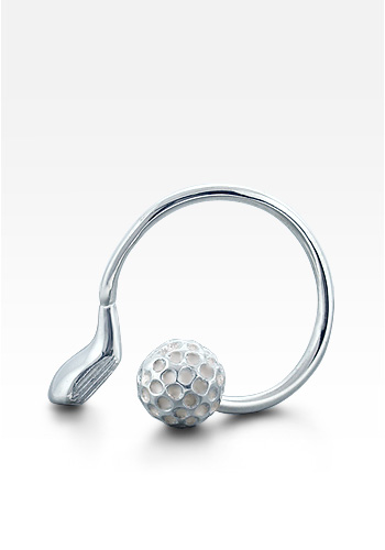 Sterling Silver Golf Club Screw Ball Key Ring