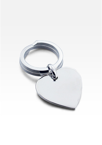 Sterling Silver Heart Tag Key Ring (Engravable)
