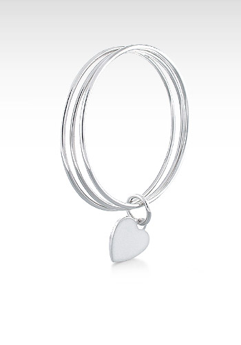 Sterling Silver Heart Tag Triple Bangle Bracelet