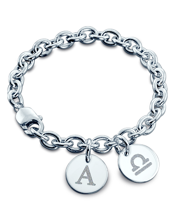 Sterling Silver Initial and Zodiac Double Disc Charm Bracelet (Engravable)