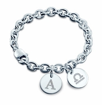 Sterling Silver Initial and Zodiac Double Disc Charm Bracelet