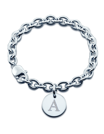 Sterling Silver Initial Disc Charm Bracelet (Engravable)