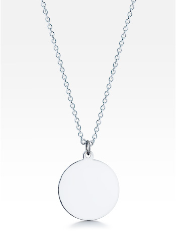 Sterling Silver Medium 1 Inch Disc Charm Necklace (Engravable)