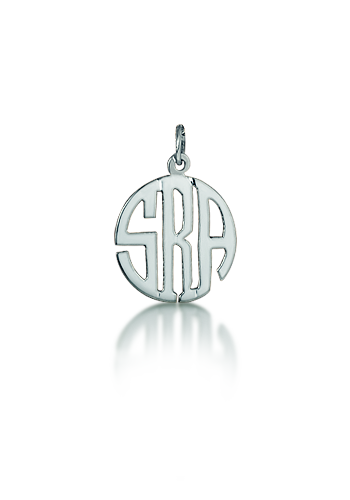 Sterling Silver Petite Cut Out Circle Monogram Charm