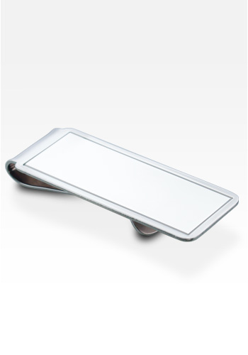Sterling Silver Rectangle Frame Money Clip (Engravable)
