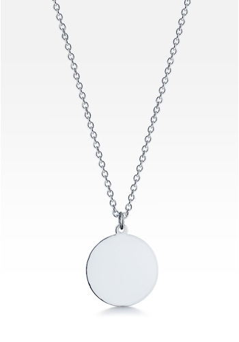 Sterling Silver Small 7/8 Inch Disc Charm Necklace (Engravable)