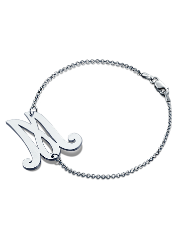 Sterling Silver Swirly Cursive Initial Charm Bracelet