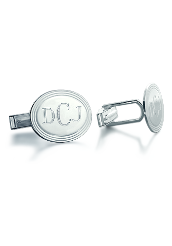 Sterling Silver Vintage Oval Monogram Cufflinks (Engravable)