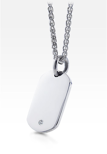 Sterling Silver Women's Diamond Dog Tag Necklace
