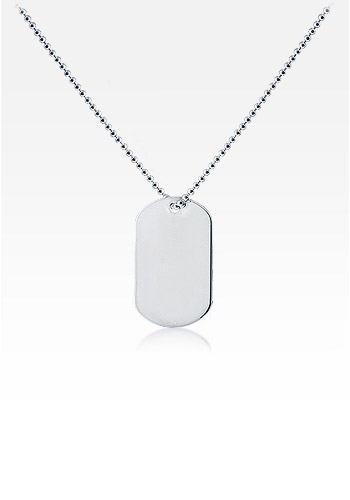 Sterling Silver Women's 'Slider' Dog Tag Necklace w/t Military Ball Chain (Engravable)
