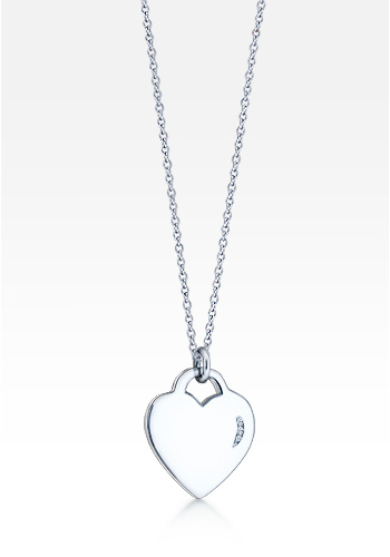 Women's Sterling Silver Diamond Reflection Heart Charm Necklace (Engravable)