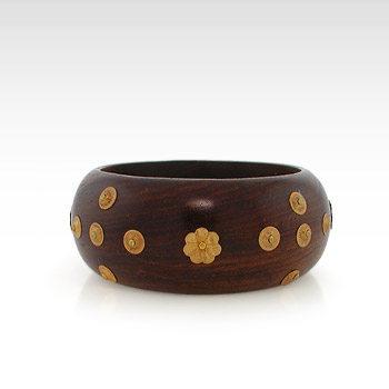 Wooden Bangle Bracelet with Brass Grommet Accents - SOLD OUT